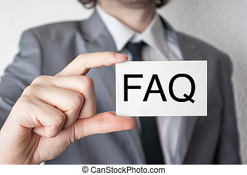 FAQ Businessman showing business card - FAQ Businessman in...