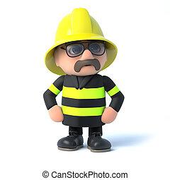 3d Fireman strikes a pose