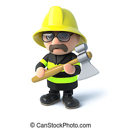 3d Fireman with his axe - 3d render of a firefighter holding...