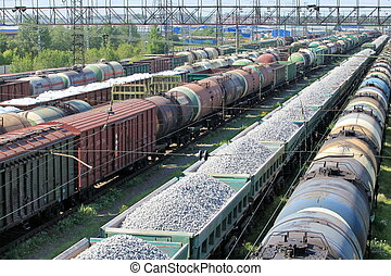 train yard full - A train yard full of freight trains High...
