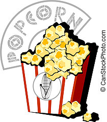 pop corn - vector illustration of box full of popcorn Solid...