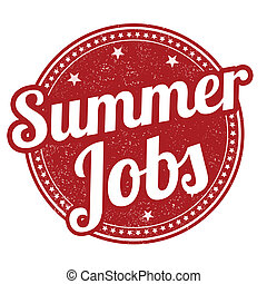 Summer jobs stamp - Summer jobs grunge rubber stamp on...