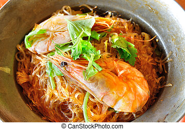 Shrimp potted with vermicelli chinese asian style food