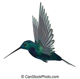 Blue Green Hummingbird - Blue green hummingbird having...