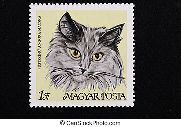 Black Angora Cat - Hungarian cat series stamp on a black...