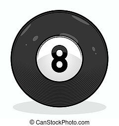 Billiard eight ball isolated on white background. Color line...
