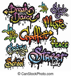 Graffiti word set - Expressive collection of graffiti urban...