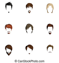 Man hair style set - Handsome attractive man male head...