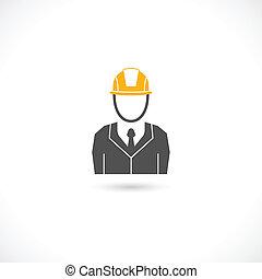 Engineer icon - Engineer builder worker in orange helmet hat...