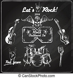 Rock music chalkboard set - Rock guitar music grunge...