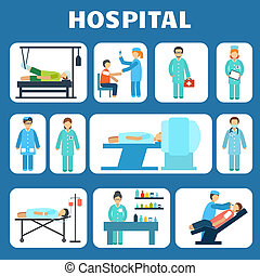Medical flat pictograms set - Medical hospital ambulance...