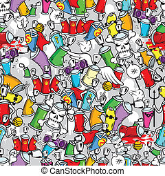 Graffiti characters seamless pattern - Graffiti art aerosol...