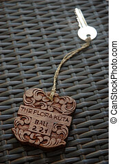 wooden key ring designed with balinese art craft