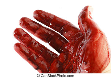 Bloody hand in front of a white background