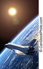 Space Shuttle Orbiting Earth. 3D Scene.