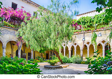 Cloister at San Francesco dAssisi Church in Sorrento, Italy,...