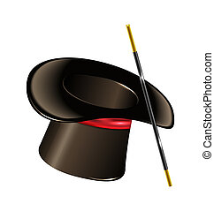Magic hat with wand isolated on white background -...