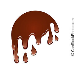 Flow down chocolate blot, isolated on white background -...