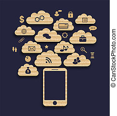 Smart device with cloud of application icons, business...