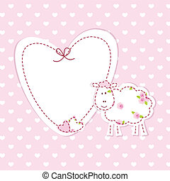 Baby background with sheep - Pink baby background with funny...