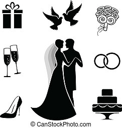Wedding icon collection isolated on white - Bride and groom...