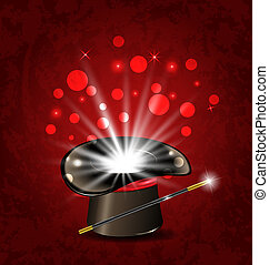 Magician hat, wand and magical glow - Illustration magician...