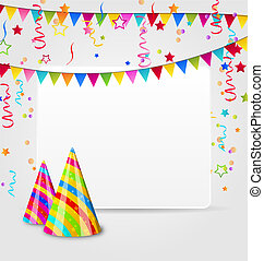 Celebration card with party hats, confetti and hanging flags...