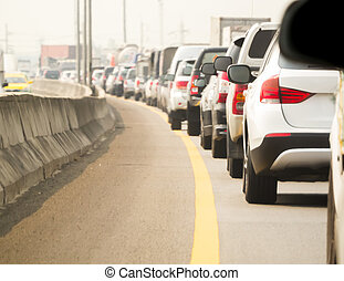 Car queue in the bad traffic road and very hot weather