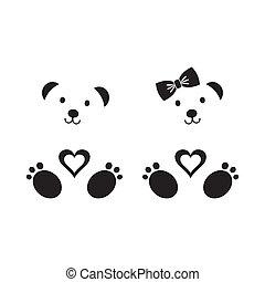 Teddy bears - Black vector teddy bear icons boy and girl