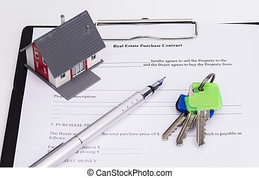 Real estate contract with house, pen and keys, isolated on...