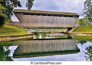Brownsville Covered Bridge Reflection - Reflected on still...
