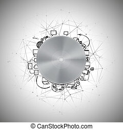 Metal power button with other doodle design elements vector illustration