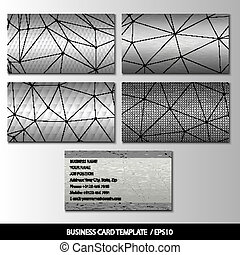 Set of metallic themed business card templates vector