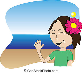 Vector Hawaiian Girl - Hawaiian girl with flower waving from...