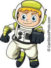 A young astronaut - lllustration of a young astronaut on a...