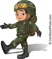 a, jeune, soldat