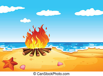A campfire at the beach - Illustration of a campfire at the...