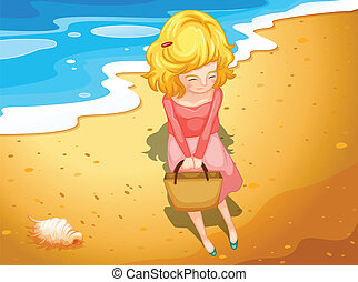 A young lady at the beach - Illustration of a young lady at...