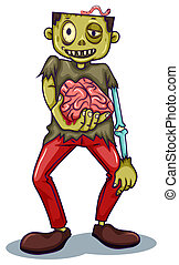 A zombie holding his brain - Illustration of a zombie...