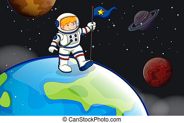 A man in the outerspace