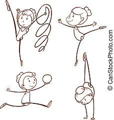 esboços, menina, ginástica