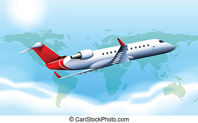 A large plane in the sky - Illustration of a large plane in...