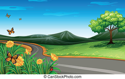 A narrow road under the clear blue sky - Illustration of a...