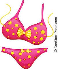A pink bikini - Illustration of a pink bikini on a white...