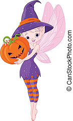 Halloween fairy - Illustration of cute fairy holding pumpkin...