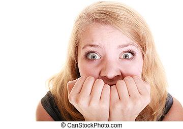 Afraid businesswoman frightened woman Stress in work -...