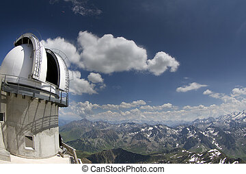 view of pyrenees from pic du midi with observatory -...