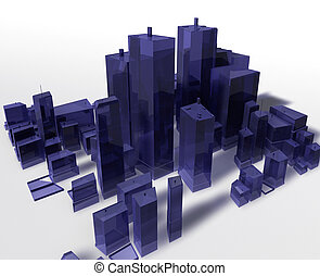Abstract generic city with modern office buildings...