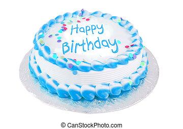 Feliz, aniversário, festivo, bolo