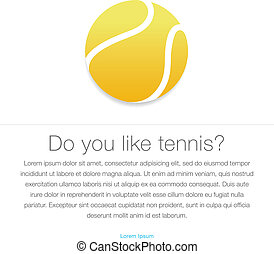Tennis icon Yellow tennis ball, vector Eps10 illustration